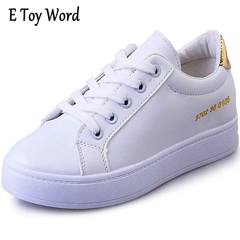 E TOY WORD 2017 New Ladies Casual Shoes Autumn White Shoes flat Breathable Fashion Female Flat Heel Casual Girl Shoes e toy word canvas shoes women han edition 2017 spring cowboy increased thick soles casual shoes female side zip jeans blue 35 40