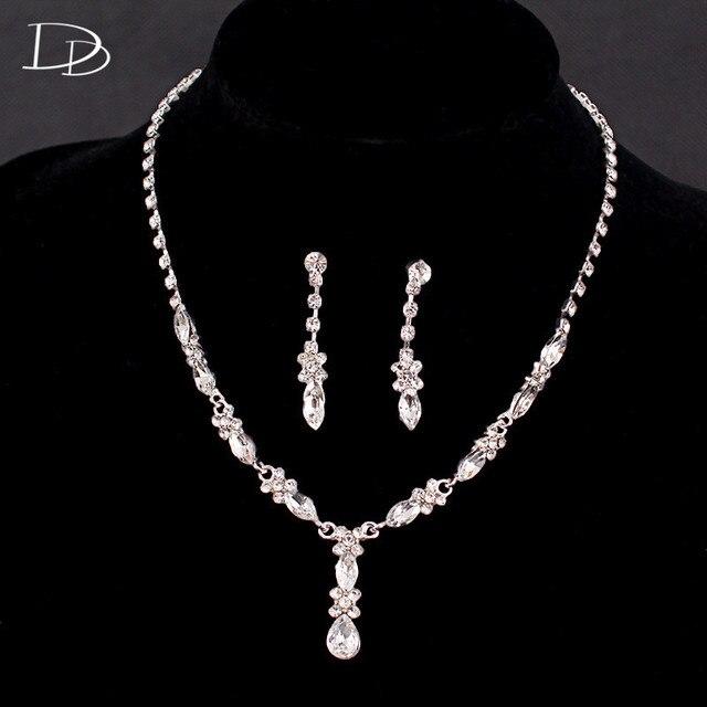 58ff7b6e40e5 Nupcial conjuntos de joyas de cristal h cadena mujeres color plata aretes  collar de accesorios de