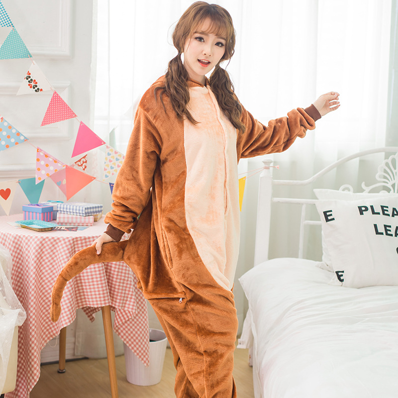 Underwear & Sleepwears Diplomatic Adults Animal Pajamas Sets Cartoon Sleepwear Cosplay Zipper Women Men Winter Unisex Flannel Brown Monkey Pajamas Pajama Sets