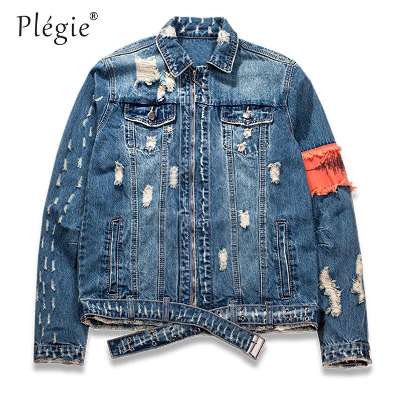 2018 Ripped Streetwear Slim Hiphop Chaqueta Blue Cinta Denim Vintage Jeans  Mens Apenado Hombres Fit Patchwork ... d43d49cb752