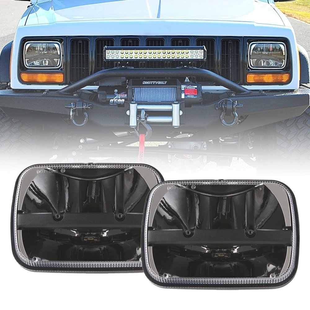 "1pair For Jeep Cherokee XJ 5x7"" Auto DRL Led headlamp 5x7 Inch led truck headlights 6x7"" high low beam Square leds headlight"
