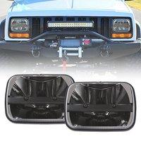 1pair For Jeep Cherokee XJ 5x7 Auto DRL Led headlamp 5x7 Inch led truck headlights 6x7 high low beam Square leds headlight