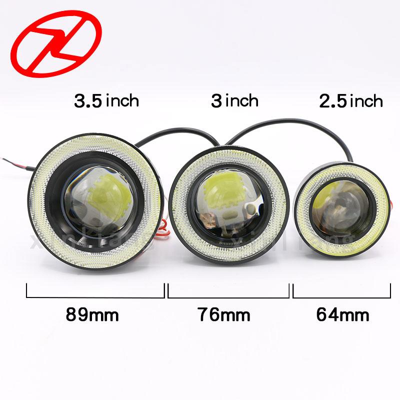 2 stücke Engel Augen Nebel Lampe 64mm 76mm 89mm 12 V Universal COB LED DRL Nebel Fahren lichter weiß blau rosa gelb grün rot eis blau