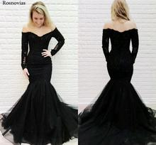 Off Shoulder Black Lace Evening Dresses Long Strapless Long Sleeves Mermaid Style Train Party Prom Dresses Formal Gowns Custom black off shoulder long sleeves lace detail playsuits