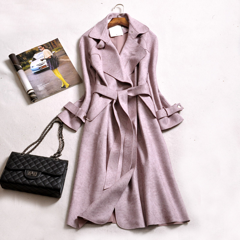 2019 New Spring Autumn Women Suede Trench Coat Europe Fashion Long Windbreaker Plus Size Solid Color