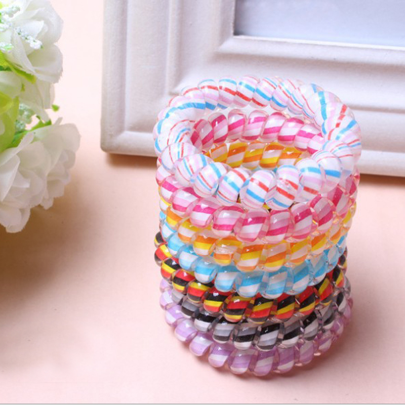 Fashion 10Pcs Women Girl New Cute Telephone Wire Elastic Rubber Bands Ponytail Holder Hair Accessories Wholesale 10pcs new 2018 hair accessories pearl elastic rubber bands headwear for women girl ponytail holder ornaments gum for hairpin