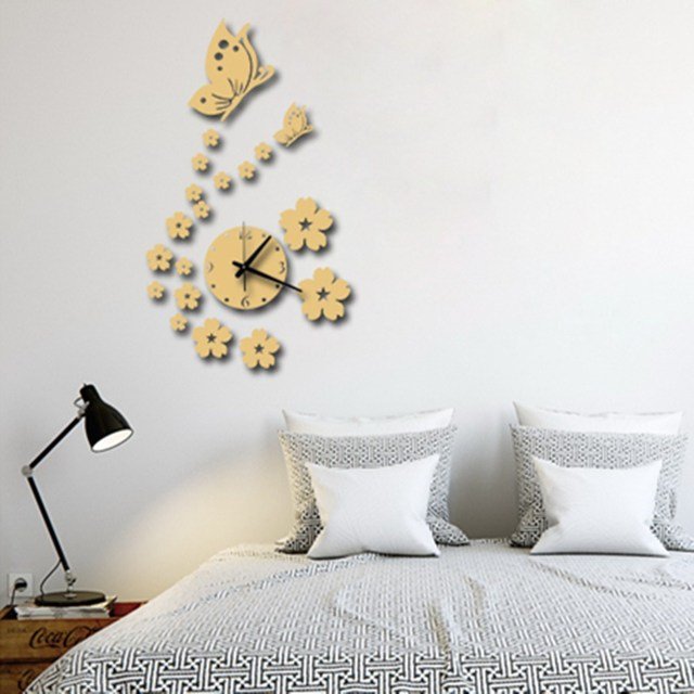 Mirror DIY Wall Sticker Wall Clock Fashion Horloge Murale Beautiful Butterflies  Wall Watch Acrylic 3D Mirror