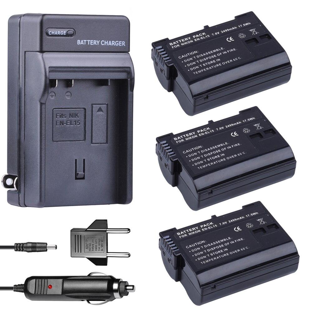 3x EN EL15 EN EL15 аккумулятор + Автомобильное зарядное устройство для Nikon D500, D600, D610, D750, D7000, D7100, D7200, D800, D800E, D810, D810A и 1 v1 камера