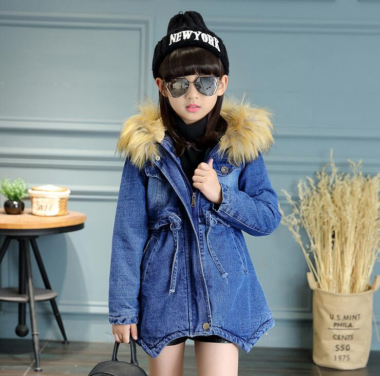 все цены на 2016 Girls Denim Jackets Coat Faux Fur Hooded Jackets Parkas Thick Winter Warm Children Outerwear Clothes Kids Clothing Q2091