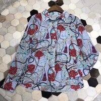 2019 Высокое качество шелковые блузки рубашки с одежда с длинным рукавом Весна шелковая блузка печати для Для женщин блуза с геометрическим п