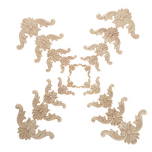 4Pc 4/6/8/10/12cm Woodcarving Decal Corner Wood Carved Furniture Decorative Figurine Miniatures Home Decor for Cabinet Door