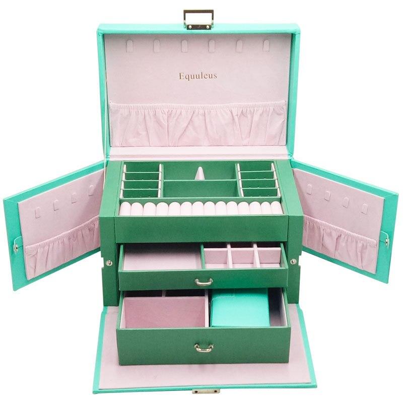 2019 nouvelle boîte de rangement multifonctionnelle en bois boîte à bijoux en cuir multi-couche grande capacité boîte de rangement de bijoux organisateur de maquillage