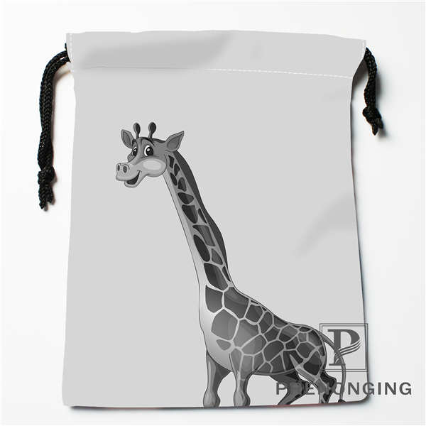 Custom Grey Giraffe Drawstring Bags Printing Fashion Travel Storage Mini Pouch Swim Hiking Toy Bag Size 18x22cm #171203@1-01