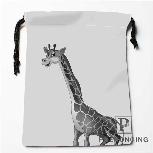 Custom Grey Giraffe Drawstring Bags Printing Fashion Travel Storage Mini Pouch Swim Hiking Toy Bag Size 18x22cm #171203@1-01