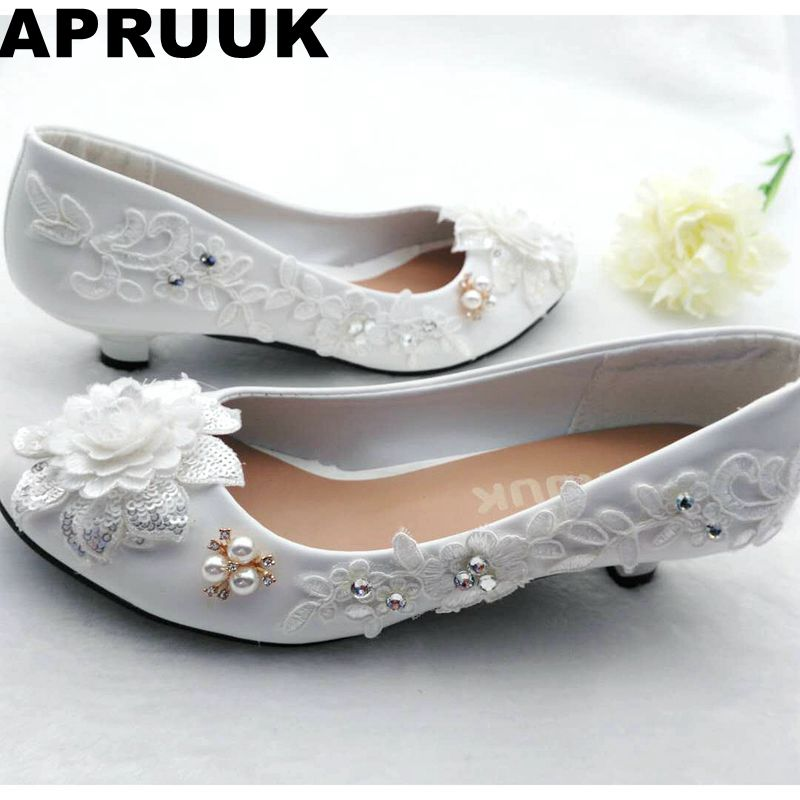 Small Low Heel Lace Flowers Wedding Shoes Bride White
