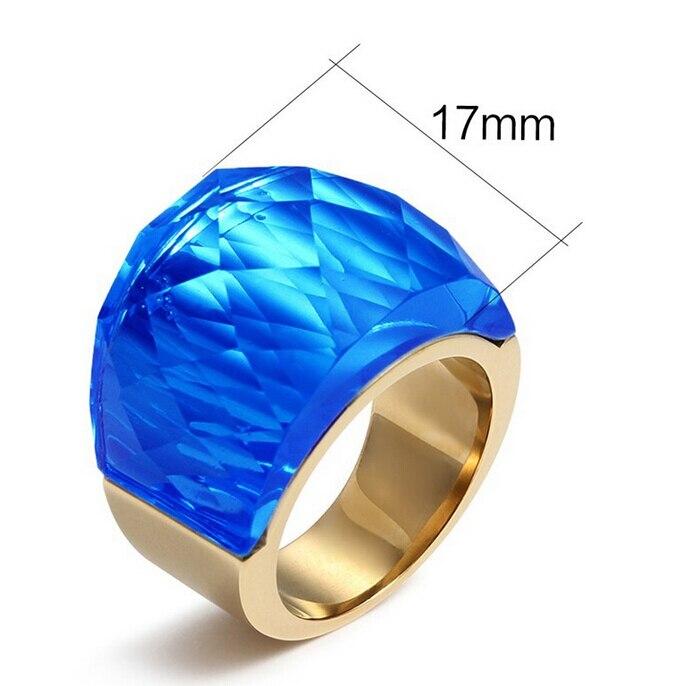 高品質着色されたガラスリング用女性大クリスタル石指輪ステンレス鋼ジュエリーシルバー&ゴールド卸売アクセサリー