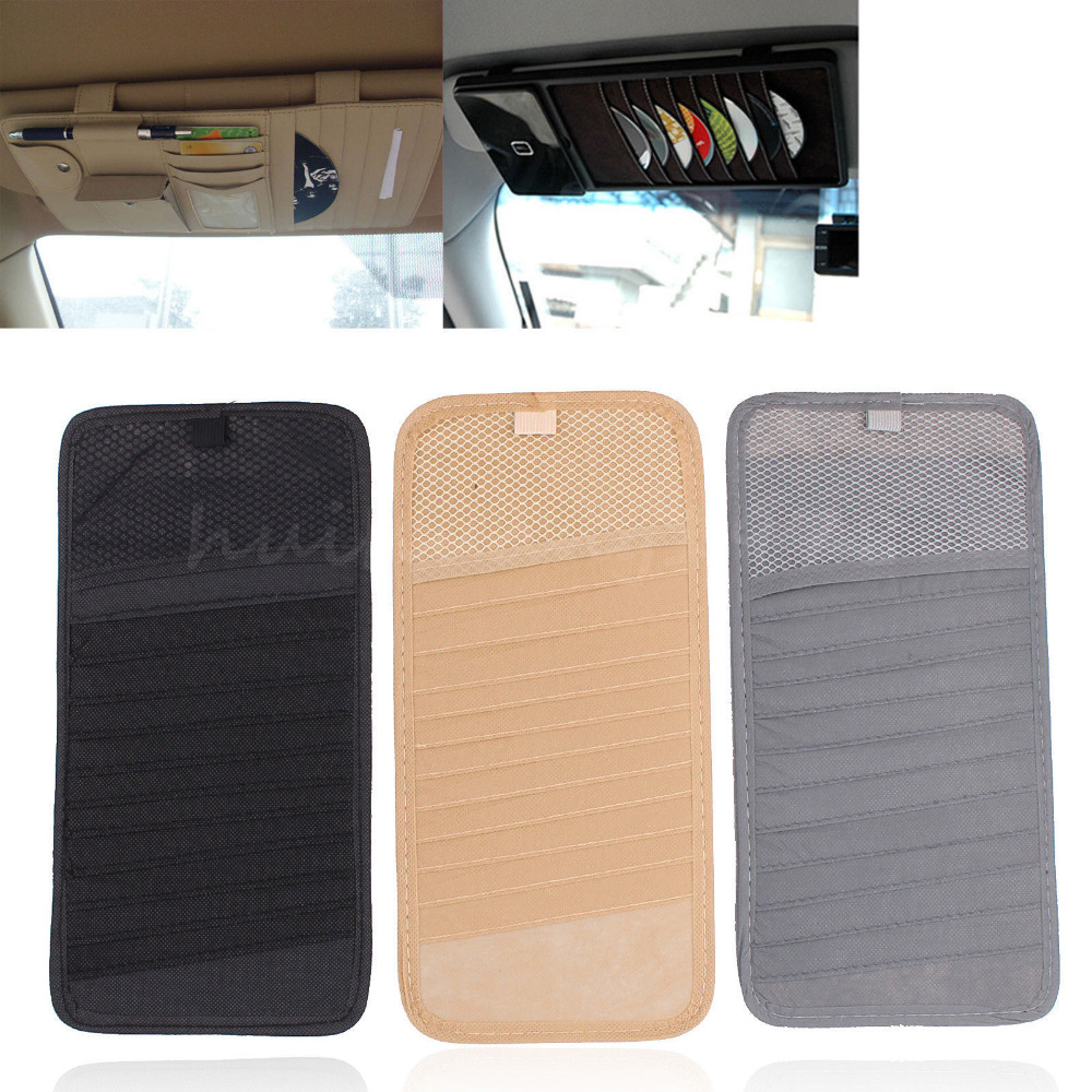 10x 12 Disc Car Auto CD DVD Visor Disk Card Case Holder Clipper Organizer Storage Bag Car Styling Interior Cover Stowing Tidying