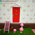 1/12 Scale Doll House  Miniature Triangle Roof  Fairy Door Open Outward Red Door  Furniture  Dolls & Miniatures Free Shipping