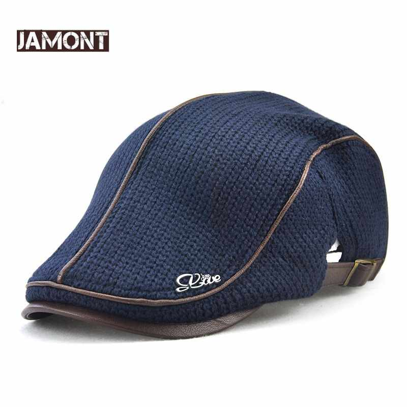 279311e41b2 JAMONT High Quality Winter Knitted Beret Casquette Homme Leather Flat Cap  for Men Boina Hombre Visor
