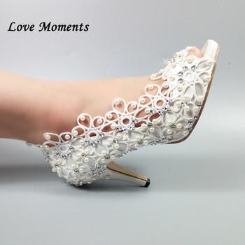 New arrive 2018 Peep toe White Lace wedding shoe women's Pumps fashion Bride Dress shoes fish toe flower Party Pumps pearl
