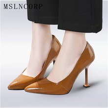 Plus Size 34-48 Genuine Leather High Quality Sexy Women Pumps Pointed Toe shoes Thin High Heels Wedding Shoes Party dress Shoes hot sale high quality pointed toe thin high heels women shoes genuine leather upper and inside lady sexy pumps sheepskin shoes