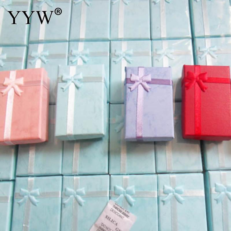 YYW 16 шт. Дисплей коробка цветной картон подарки для Цепочки и ожерелья серьги кольца набор упаковку атласной лентой Дисплей Jewelry Коробки