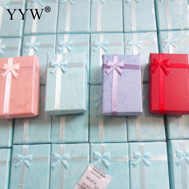 YYW 16pcs Display Box Colorful Cardboard Gifts for Necklace Earrings Ring Set Packaging Box Satin Ribbon Display Jewelry Boxes