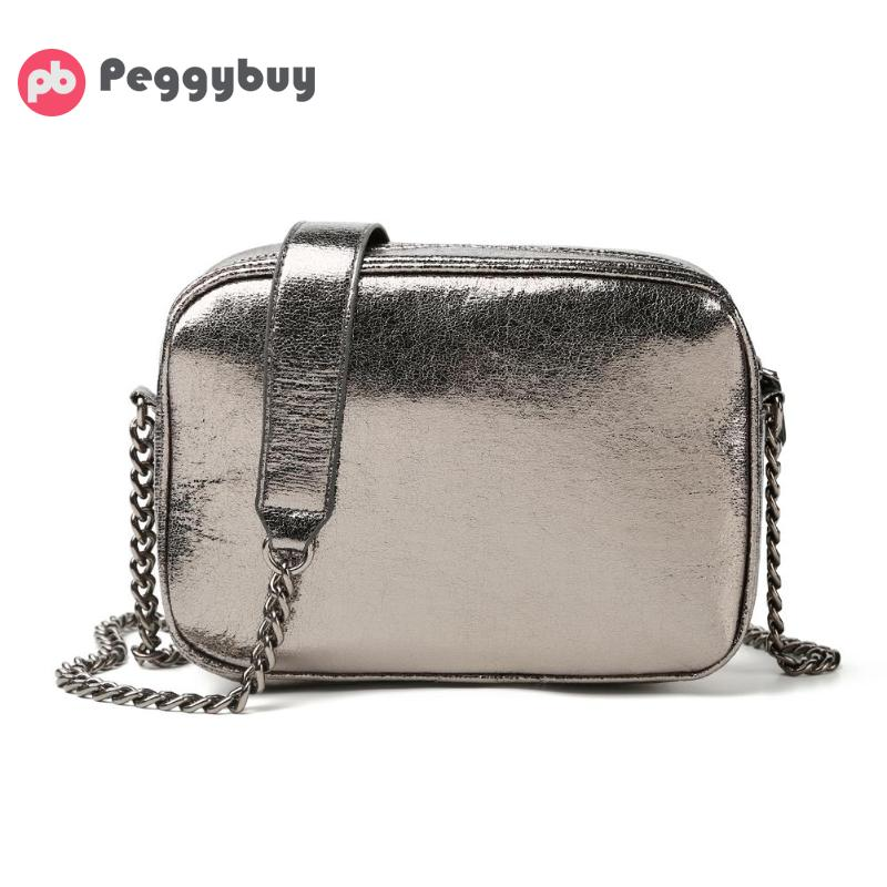 Female Fashion Casual Small Flap Solid Color Shoulder Messenger Handbags Leather Women Chain Small Square Silver Crossbody Bags