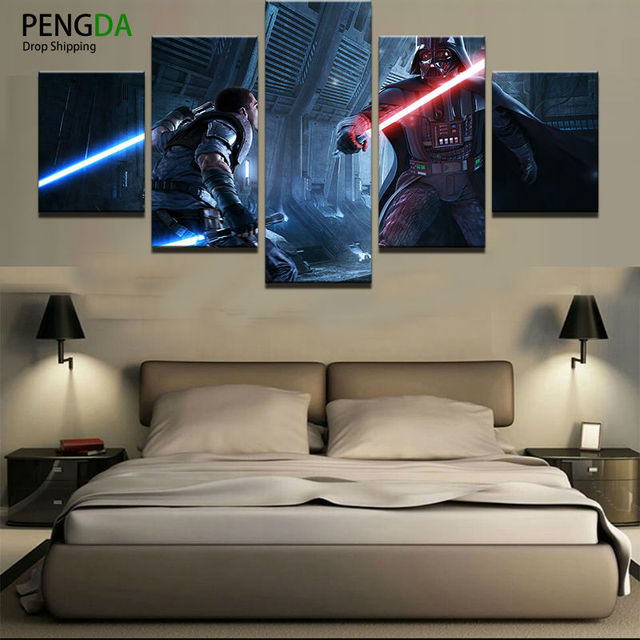 Superbe Home Decor Print Canvas Oil Painting Vintage Wall Art Canvas Painting 5  Pieces Star Wars Wall