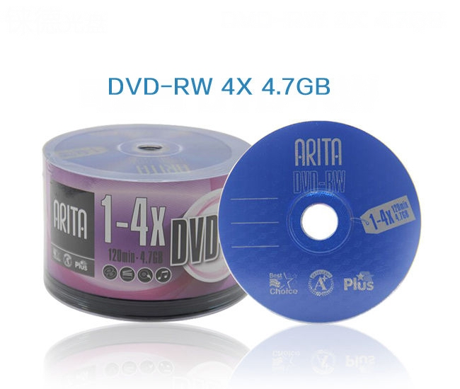 ARITA rewritable DVD-RW 4.7GB 4X 50pcs/lot free shippingARITA rewritable DVD-RW 4.7GB 4X 50pcs/lot free shipping