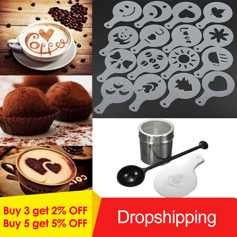 Chocolate Duster Tea Coffe Frothing Tool Set Coffee Shaker Frothing Milk Stencils For Cappuccino Latte Measure Spoon