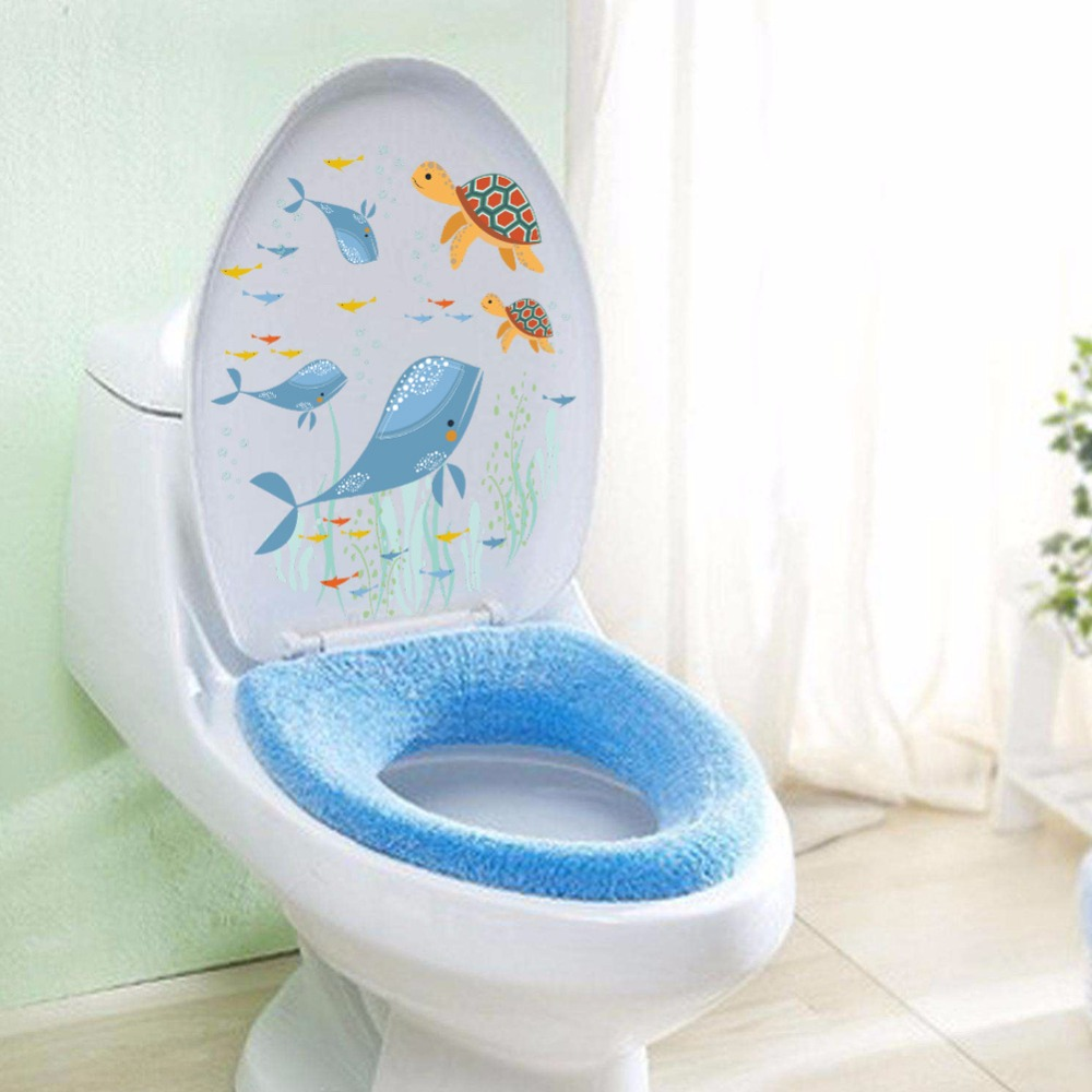 Whale Turtles Fish Eco friendly Removable Bathroom Decor Mural ...