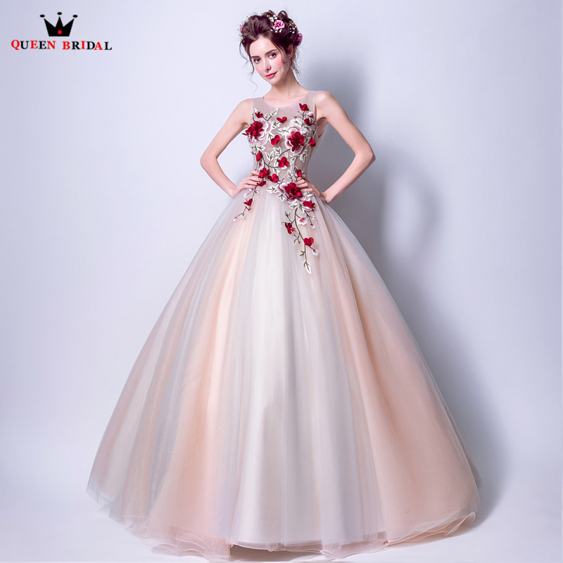 Vintage   Evening     Dresses   2019 Fashion Ball Gown Tulle Lace Flowers Appliques Party Gowns   Dress     Evening   Gown CS52