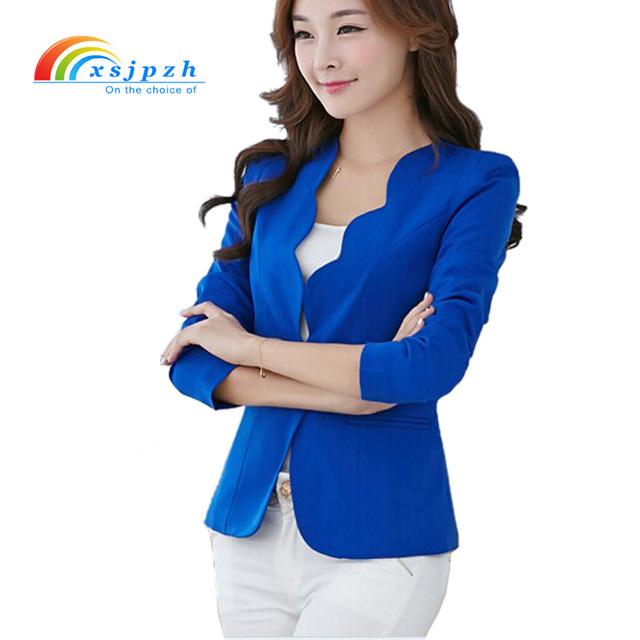 63a55f0590f Fashion New Blazers Jackets For Women Work Royal Blue Blazer Candy Color  Slim Suit Flouncing Veste Blazer Femme YC051