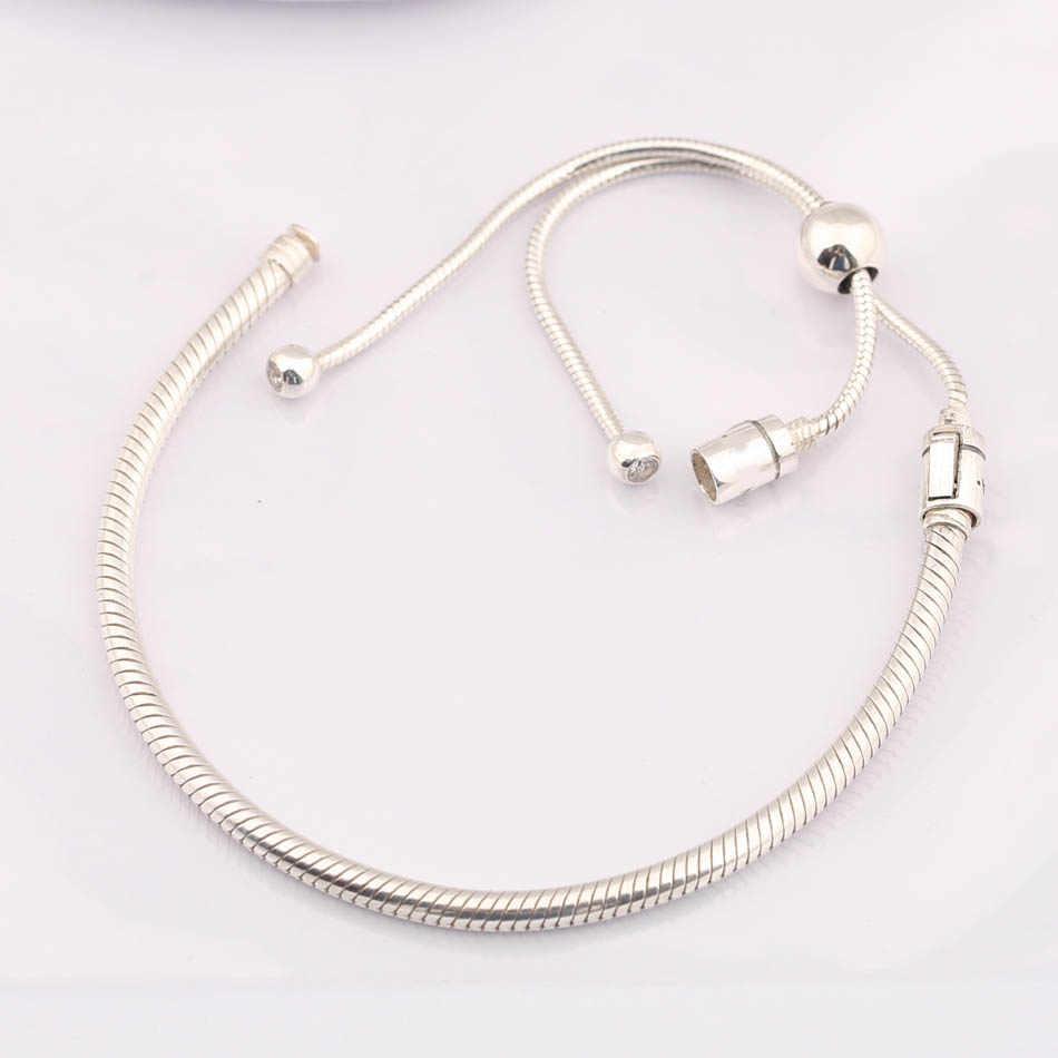 5ef38b8dda8 New Moments Sliding Clasp Adjust Bracelet Bangle Fit Women Bead Charm Diy  Pandora Jewelry 925 Sterling Silver Bracelet