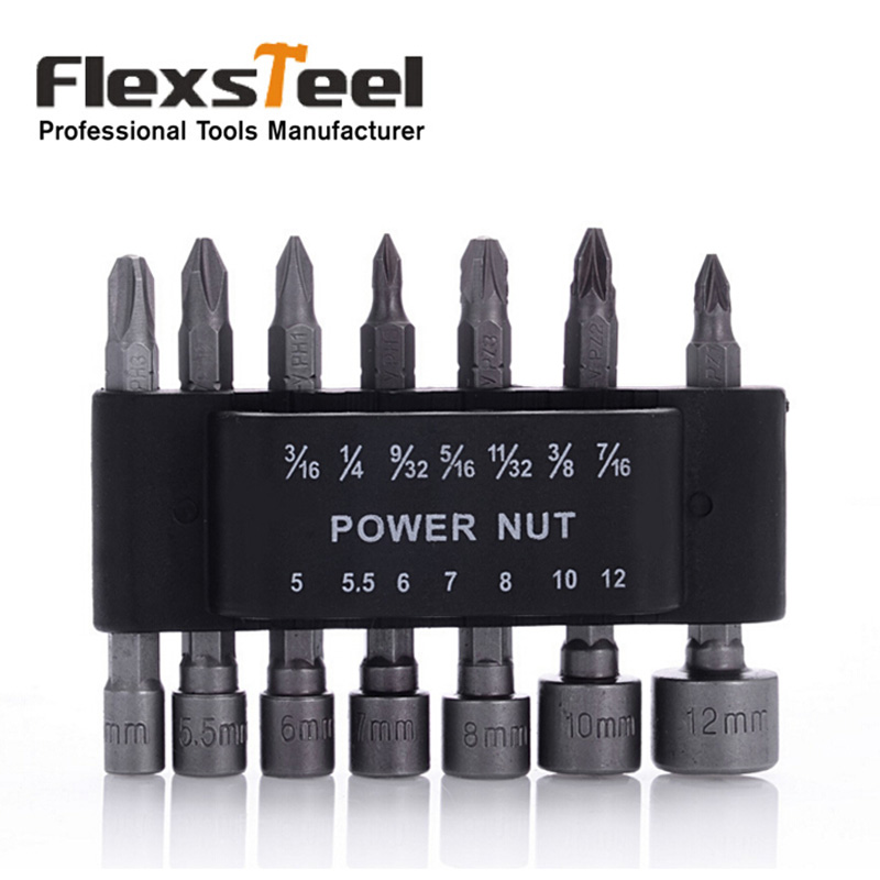 Flexsteel 14pcs Power Nut Driver Set Forged and Hardened CRV Universal Fit 1/4 Shank Socket Wrench Screwdriver Bit Set 14pc power nut driver drill bit set sae metric socket wrench screw 1 4hex shank