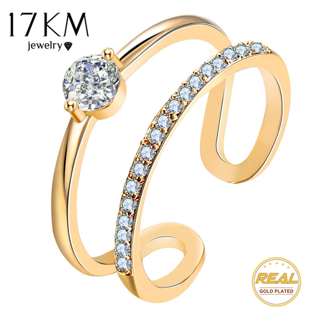 17KM Fashion Design Cubic Zirconia Rings For Women Gold Silver Color Round Cryst