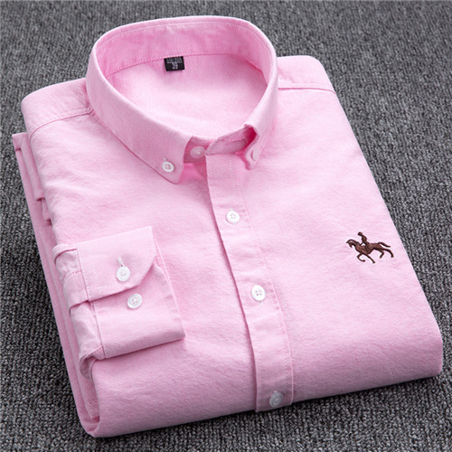 S-6XL Plus size New  OXFORD FABRIC 100% COTTON excellent comfortable slim fit button collar business men casual shirts tops 9
