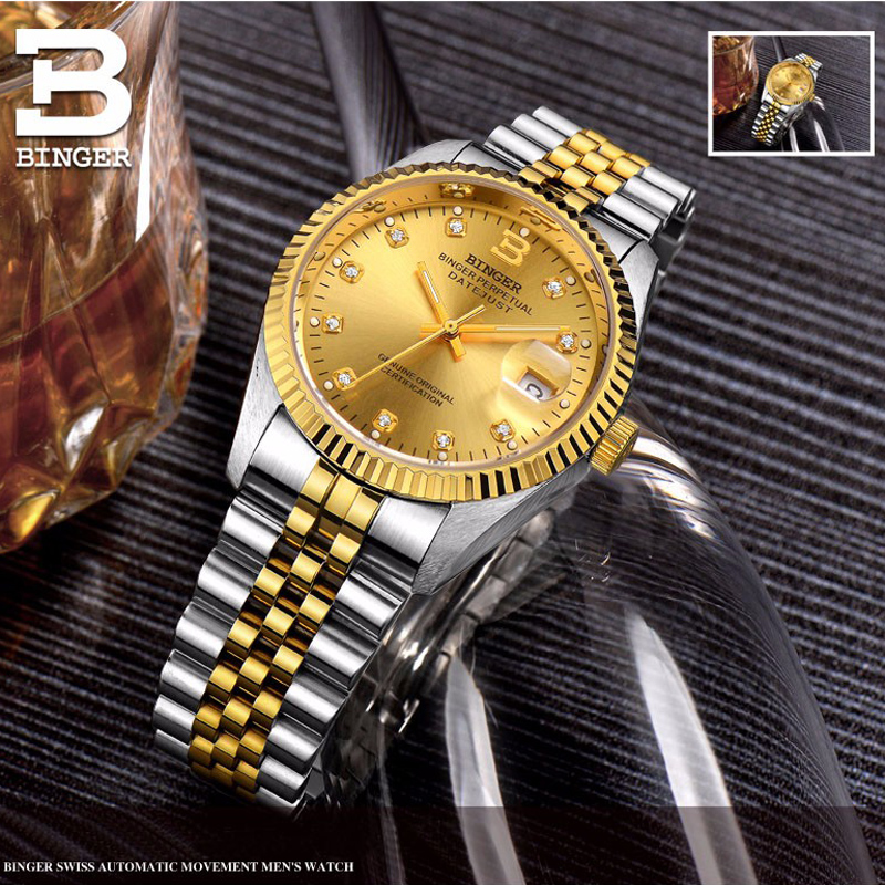 Switzerland Luxury Waterproof Automatic Men Women Mechanical Watch Auto Date Full Steel Business Top Brand Man Ladies Watches