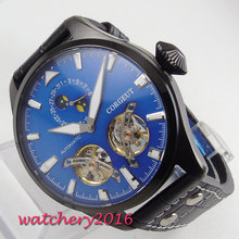 2019 New Arrive 46mm Corgeut Blue Dial Date PVD Mechanical Watches relogio masculino Gift Moon Phase Automatic mens Wristwatch