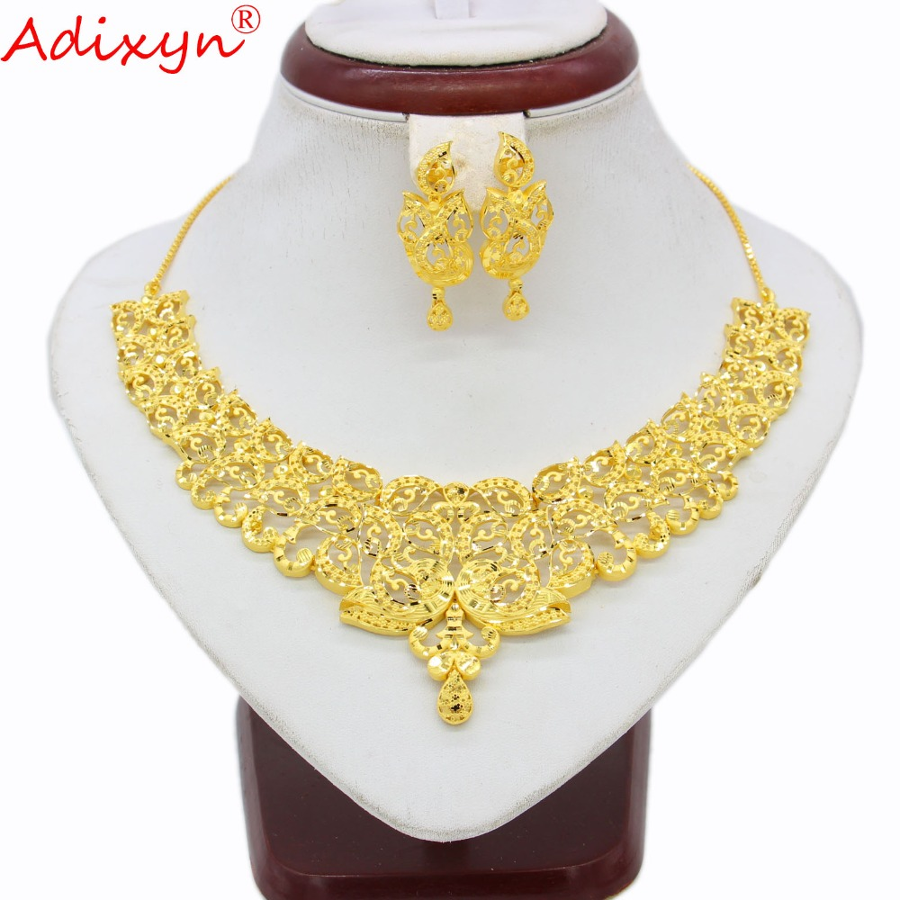 Adixyn India Necklace Earrings Jewelry set For Women GirlsGold Color Copper African Ethiopian Engagement Gifts N03142