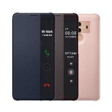 Etui flip wallet pokrywa luksusowe skórzane telefon etui na Huawei Mate 10 Pro huawei Mate10 Mate10pro 10pro 360 okno ochrona Smart View