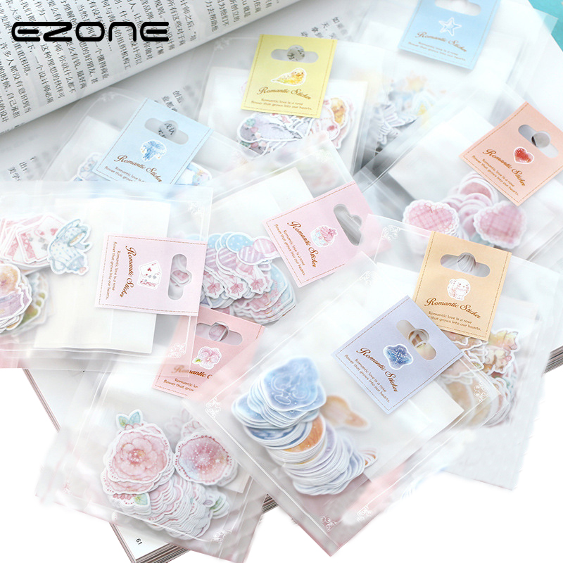 EZONE Kawaii Fiber Paper Sticker Design Of  Heart/Star/Flower/Bird/Cake Cute Stickers DIY Scrapbooking Album Students Stationery