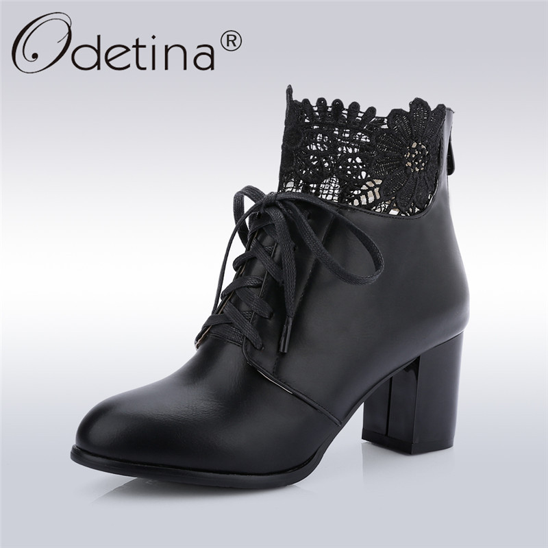 Odetina 2018 New Fashion Women Winter Ankle Boots Square High Heels Shoes Ladies Flower Pointed Toe Lace Up Bootis Big Size 43 women ankle boots 2016 round toe autumn shoes booties lace up black and white ladies short 2017 flat fashion female new chinese