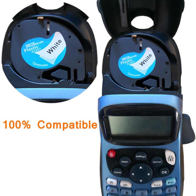 12mm 91201 תואם Dymo LetraTag קלטות תווית 12267 91200 91202 91203 91204 91205 91331 91221 59422 עבור Dymo LT-100H מדפסת