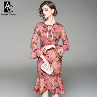 Spring Autumn Woman Dress Colorful Floral Pattern Print Suede Fabric Cotton Blends Pink Dark Blue Knee