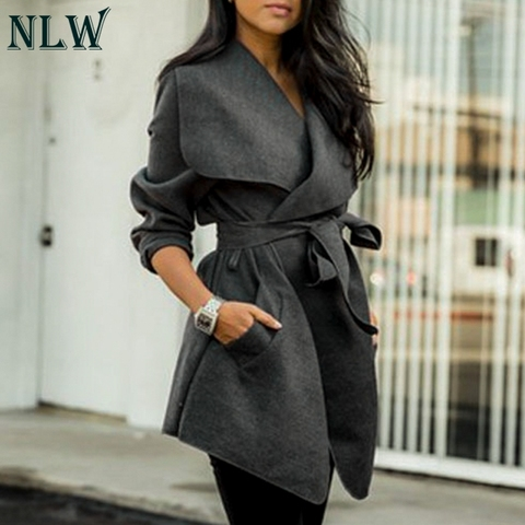NLW Casual Oversize Turn Down Collar Women Coats Blends Bow Belt Tie Coat High Fashion Feminino Coats Pakistan
