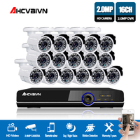 1080P AHD 16CH CCTV Camera System Kit 16 Channel AHD DVR Recorder+IR Outdoor Bullet White 2MP AHD Camera System