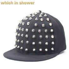 Которые в душ заклепки кепки в стиле хип-хоп для женщин мужчин черные кепки с прямым козырьком и ремешком Регулируемый головной убор k pop Кепка для уличных танцев bone gorras