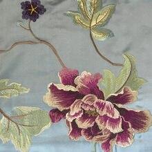 Broderie luxueuse de roses florales de Style chinois, imitation soie, comme pour rideau, coussin de chaise, tissu décoratif, largeur de 140 cm, 2 couleurs
